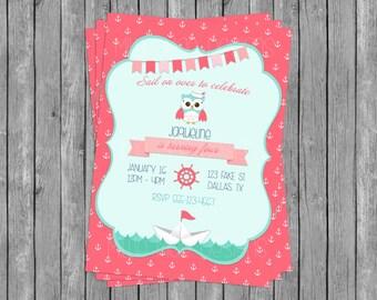 SALE 50% OFF Custom Girl's Nautical Owl Invitation - Baby Shower - Birthday Party