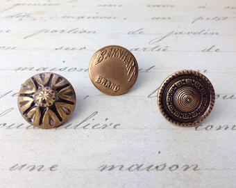3 Medium Antique Metal Buttons 19 mm