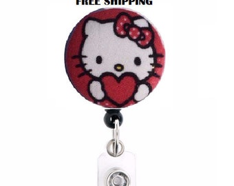 Hello kitty retractable badge holder -free shipping-ready to ship