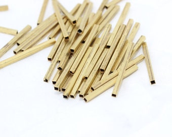 25 Pcs Raw Brass Square Tubes 2x2-30mm  Tubes Connectors , Straight tubes, Brass Pipe , TBR12