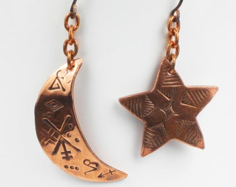 Celestial Crescent Moon and Star Copper Dangle Earrings - HypoAllergenic Niobium Ear Wires - Celestial Star Moon Earrings - Dangle Earrings