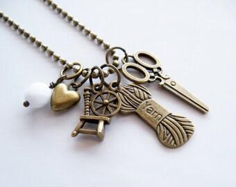 Yarn Lovers Charm Necklace - Yarn Addict Jewelry - Knitting Charm - Crochet Jewelry - Spinning Wheel Custom Charm Gift - You Choose Bead