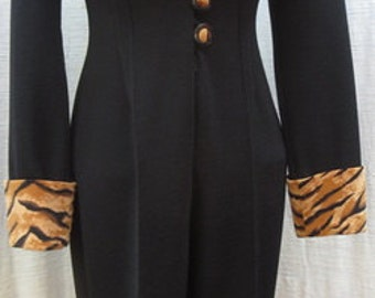 Medium Stretch CACHÉ JUMPSUIT  with Bengal Tiger Collar and Cuffs