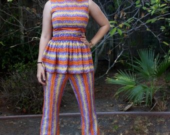 Vintage 1960s Set // 60s Peplum Tank Top and Bell Bottom Pants // Psychedelic Missoni Look