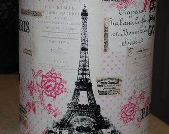 Custom Parisienne Style French Shabby Chic Lamp Shade - Pink, White, Black and Beige