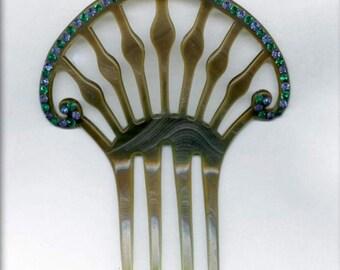 Celluloid & rhinestone hair comb. (skbk105)
