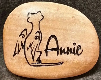 "ANGEL CAT MEMORIAL Stone  8"" or 6"" approx. size  Personalized Engraved Name"