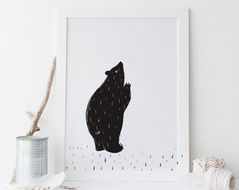 Nursery Art Print Scandinavian inspired Bear Hug monochrome modern kids decor art