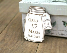 Wedding save the date magnets,eco wood magnet save the date by Oxee, mason jar