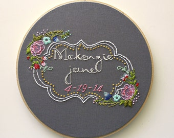 CUSTOM Baby Name Art>Floral Embroidery>Nursery Decor Hoop Art>Embroidery Design>Baby Girl>Custom Personalized Wall Decor>Handmade Embroidery