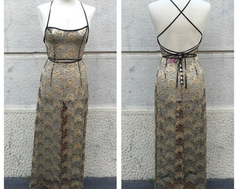 SALE -20% 90s Plein Sud Cotton and Viscose Lace Dress Size S