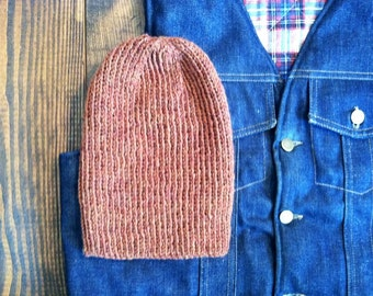 15% OFF! Hand Knit Wool Beanie - Rust - One Size Fits Most