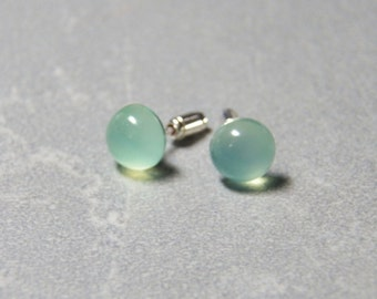 8mm or 10mm Green Chalcedony Gemstone Post Earrings with Sterling Silver