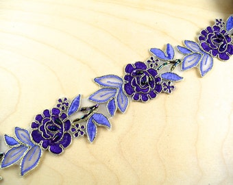 Purple and Lilac Flower Formal Lace Set on Organza and Decorated with Beading Spectacularly Beautiful