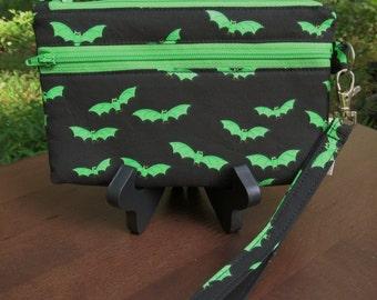 Wristlet/Wallet/Zipper Bag-Featuring Bright Green Bats on Black Background