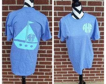 Monogrammed Sailboat Short Sleeve Tee. Monogrammed Shirt. Comfort Colors. Beach Shirt. Summer Shirt. Summer Top.