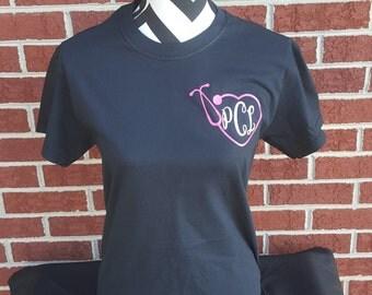 Monogram Nurse Heart Stethoscope Short Sleeve Shirt, Nurse Monogram Shirt, Stethoscope Shirt, Nurse Monogram Tops, Nurse Shirt