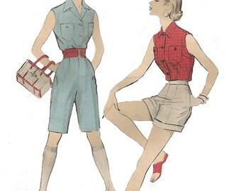 Vintage 1950s woman shorts & shirt pattern, Advance 6687, size 14, sleeveless, button front, bermuda shorts, Bust 32, PREVIOUSLY CUT