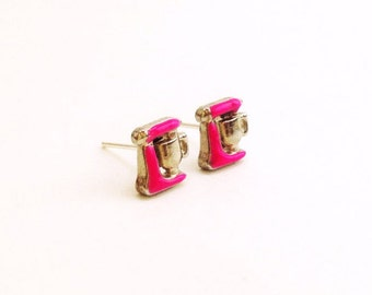 Boho Chic Dainty Minimalist Hot Pink Kitchen Aid Baker Mixer Silver Stud Earrings Hipster Christmas Gift Stocking Stuffer