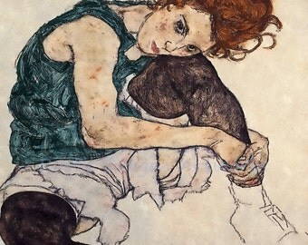 "Egon Schiele ""Woman Sitting with Bent Knee"" 1917 Reproduction Digital Print Woman Portrait"