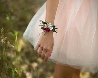 Flower summer bracelet white pink green wedding bridal floral accessories