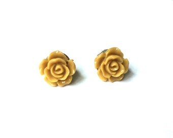 Rose Earring Studs - Gold Rose Earrings - Gold Rose Stud Earrings - Gold Flower Earrings - Gold Jewelry