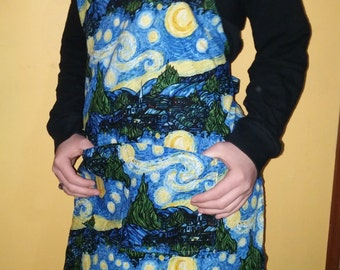Van Gogh Apron Artist Apron Adult A Starry Night Ready to ship