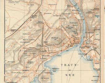 1929 Gmunden Austria Antique Map