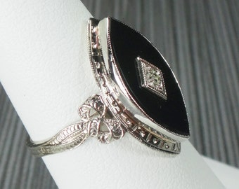Vintage 14k Onyx and Diamond White Gold Ring 1940's Retro Onyx and Diamond Ring Black Stone Ring Bows and Ribbons Marquise