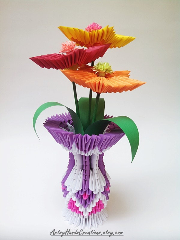 3d origami flower vase 3d origami vase with flowers 3d. Black Bedroom Furniture Sets. Home Design Ideas
