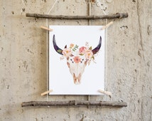 Printable art, cow skull print Cow skull art bull head print tribal nursery, tribal wall art, boho wall art, southwestern art, boho nursery