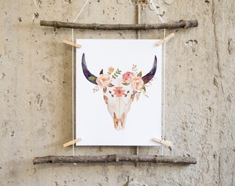 boho wall art printable, boho nursery decor, cow print, cow skull print, bull skull, tribal nursery, bohemian print, tribal nursery decor,