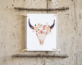 Boho wall art imprimable, décoration chambre d'enfant hippie, vache impression, crâne de vache impression, taureau crâne, pépinière tribal, décor de crèche impression, tribal Bohème,
