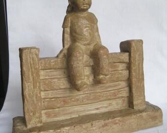 Rare Vintage GIRL ON FENCE #687 Sculpture Signed M. Strubel-Haeger Magical Moments Line Sculptured Art-Rustic Farmhouse Girl Nursery Dcor