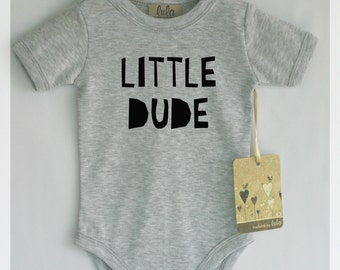 Little dude baby clothes. Modern baby clothes, many colors available.