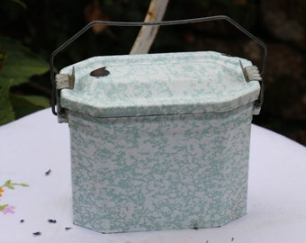Original French Vintage 1940's green enamel lunch can or pail. French Vintage Shabby Chic.