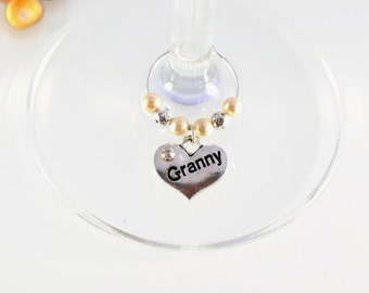 Granny Wine Glass Charm - Swarovski Crystal - Granny Birthday Gift - Grandmother Birthday - Granny Mother's Day Gift - Gift for Granny