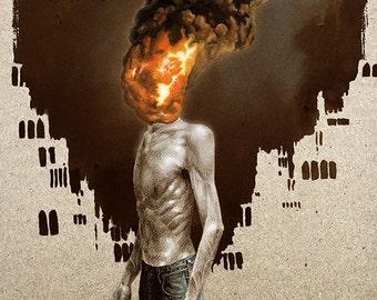 "Man on Fire 11""x17"" Print"