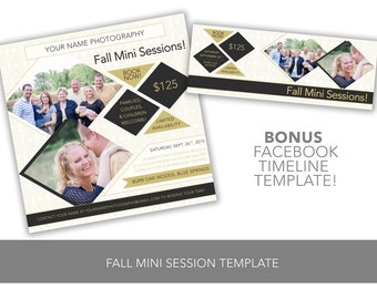 INSTANT DOWNLOAD Fall Mini Session Template Black Gold Geometric Diamonds & Triangles Customizable Photoshop + BONUS Facebook Timeline Cover