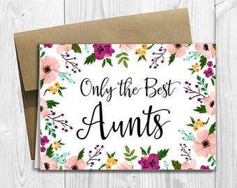 PRINTED CUSTOM Only the Best Aunts Get Promoted to Great Aunts Pregnancy Announcement 5x7 Greeting Card - Watercolor Flowers