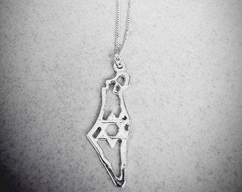 Israel necklace silver Star of David, israel jewelry, map of israel, The Land of Israel Necklace, Jewish jewelry, Judaica