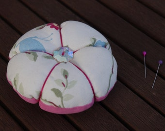 Flower fabric pin cushion - Sewing accessory, Floral, Pink, Stocking Filler, Sewing Pins, Flower, Sewing gift, Stocking filler, Womens