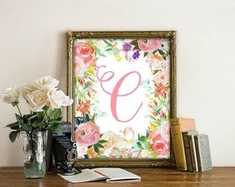 Letter C, Nursery Decor, Nursery Wall Art, Nursery Prints, Nursery Art, Letters, Monogram Floral Letter, Woodland Nursery