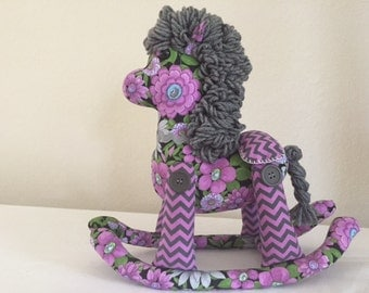 Stuffed Rocking Horse - Violet and Grey