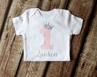 First Birthday Outfit, 1st Birthday Shirt, First Birthday Onesie, Personalized, Princess Crown, Girls SILVER Pink Princess, 2nd Birthday