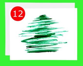 SALE Christmas Card Set of 12 Christmas Tree Cards Simple Holiday Card Sets Christmas Card Box Holiday Card Box Holiday Cards Pack