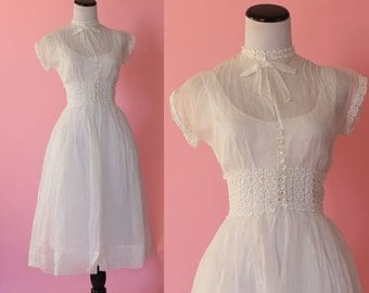 1940s organdy dress/ 40s sheer white day dress/ extra small xs • free US shipping