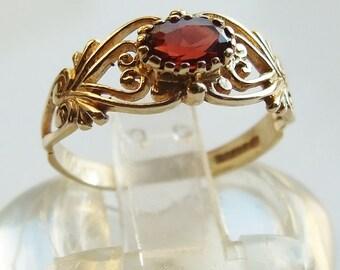 Vintage 9ct 9k Gold Garnet Heart Filigree Band Ring Size 5 3/4 - L