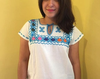 Mexican top blouse embroidered light blue colourful traditional muslin cinco de mayo day of the dead frida kahlo clothing summer pattern