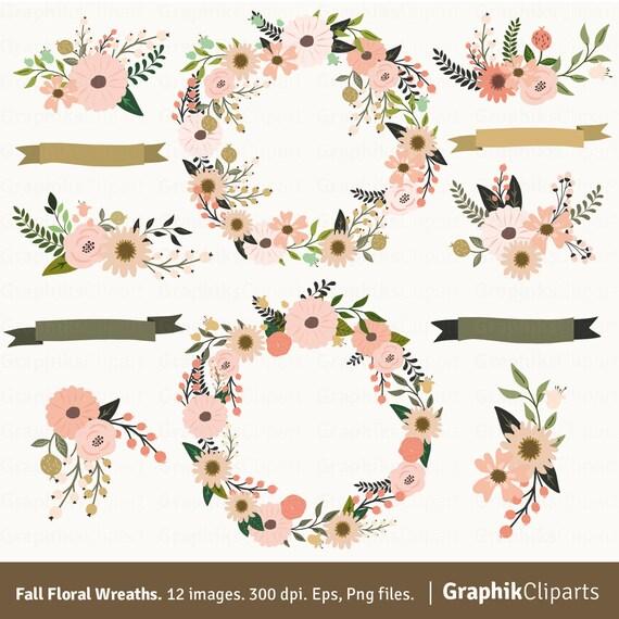 Fall Floral Wreaths Clip Art. Floral Clip Art. Fall Clip Art.